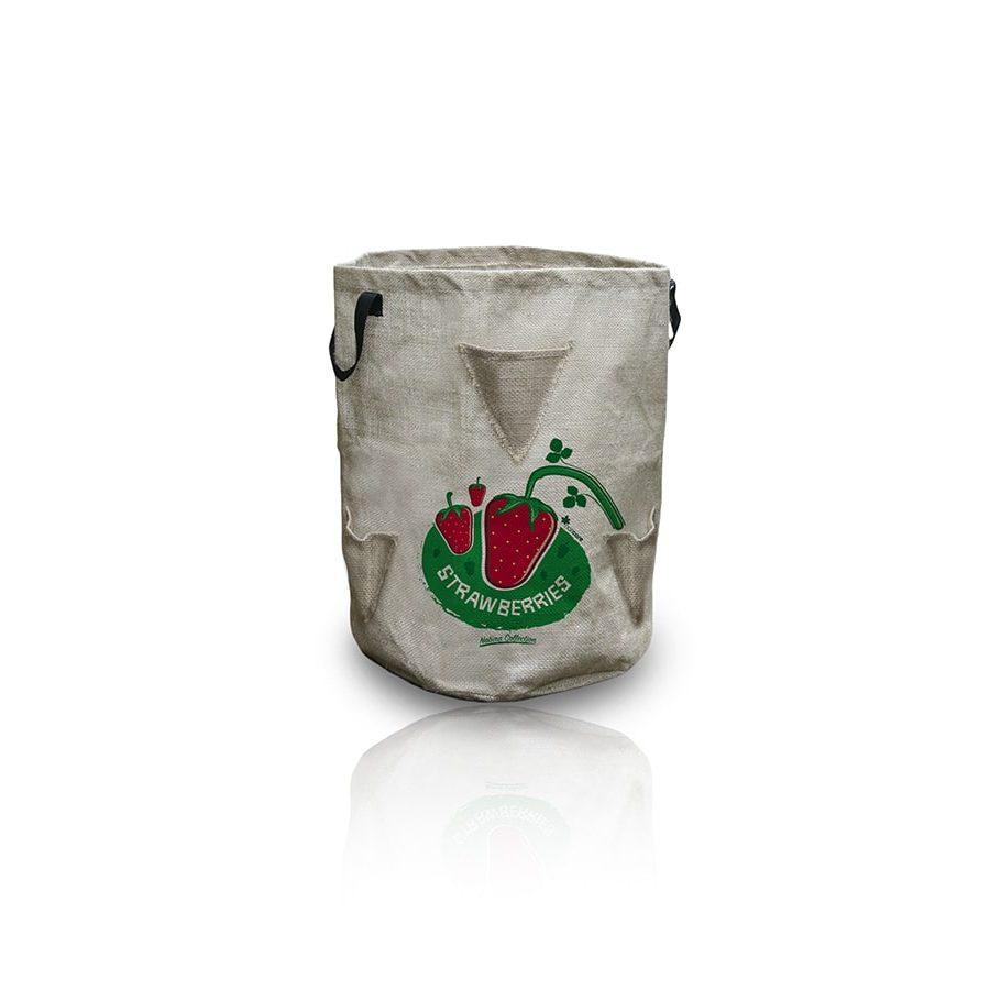 Jardinera de yute para fresas Ø35×45 cm – Berrypockets