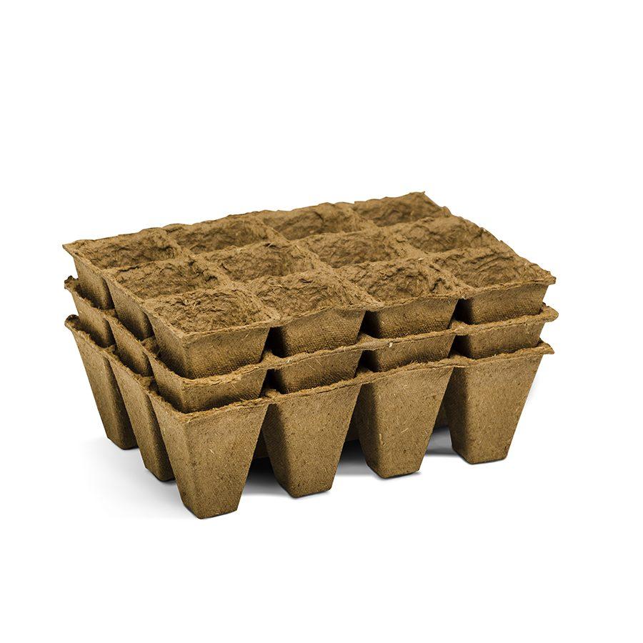 Semilleros 12 celdas de fibra natural (12u) – Nattray 12