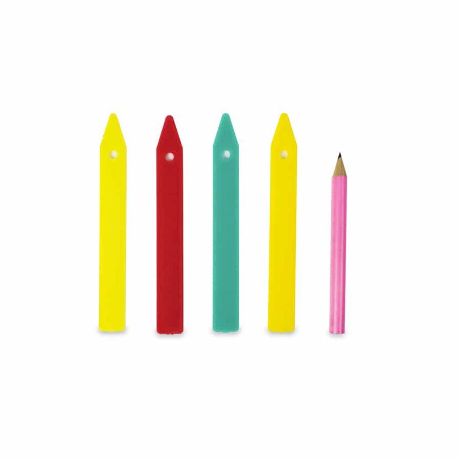 Etiquetas de plástico de colores (25u) + lápiz